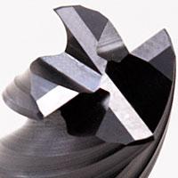 VHM HPC Fräser Detailansicht Schneide + ungleicher Drall