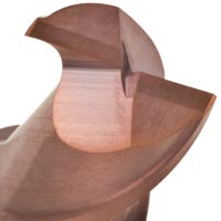 VHM Schlichtfräser Zweischneider RG25-13a lange Schneide Stirn Ansicht